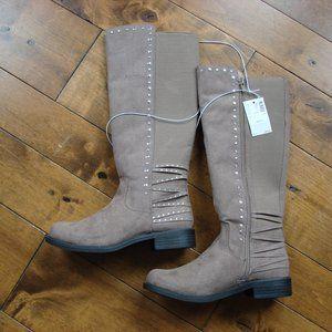 Justice Girls Tall Studded Rhinestones Tan Size 3 Boots NWT